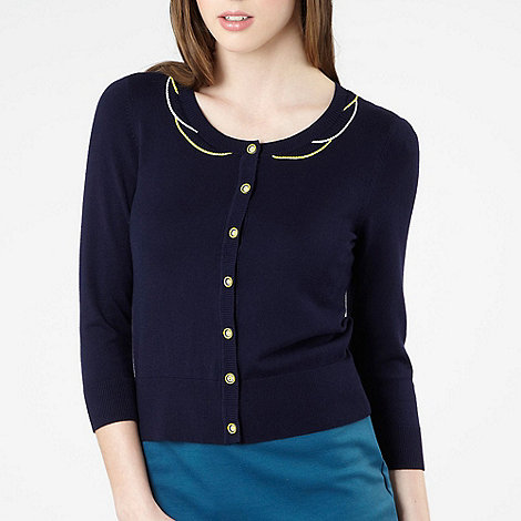 Red Herring - Navy scalloped neck cardigan