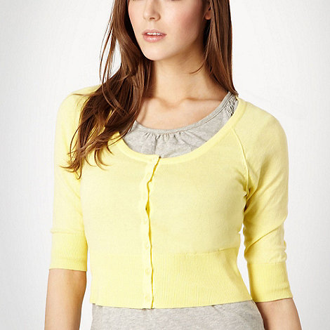 Red Herring - Light yellow cropped cardigan
