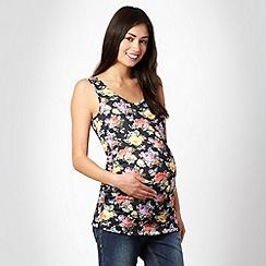 Red Herring Maternity - Black floral maternity vest