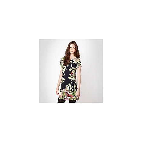 Red Herring - Green botanical motif printed day dress