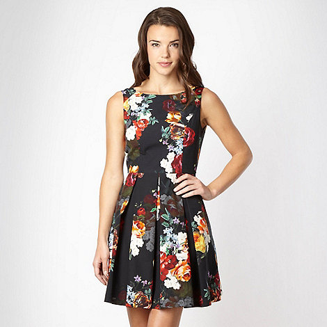 Red Herring - Black floral printed prom dress