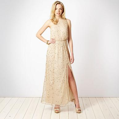 Special Edition - gold beaded one shoulder maxi dress