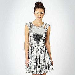 Red Herring - Silver sequin prom dress
