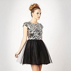 Red Herring - Black sequin top prom dress