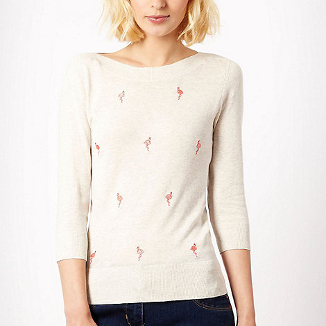 Red Herring - Light grey flamingo embroidered jumper