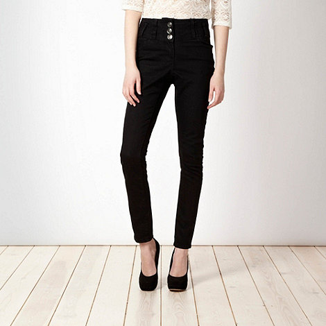 Red Herring - Black +Heidi+ high waisted straight leg jeans