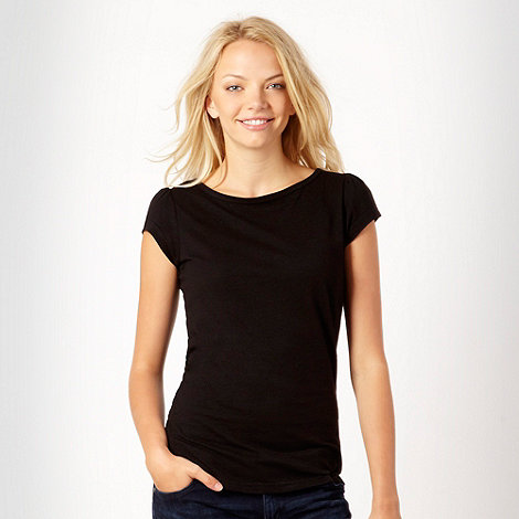 Red Herring - Black plain boat neck t-shirt