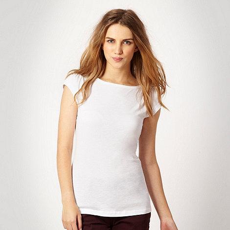 Red Herring - White textured boat neck t-shirt