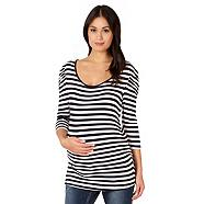Navy striped gathered sleeve maternity top