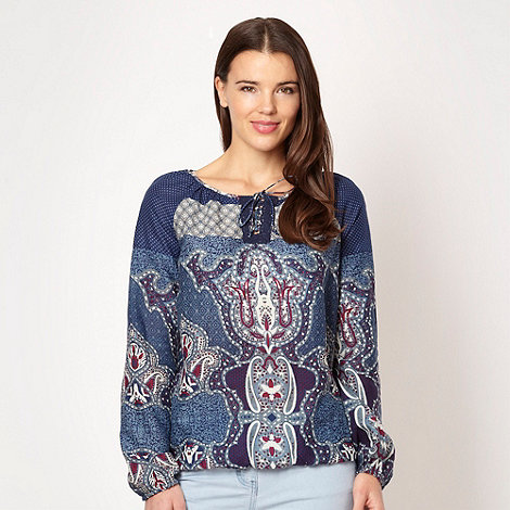 Red Herring - Navy mix and match gypsy top