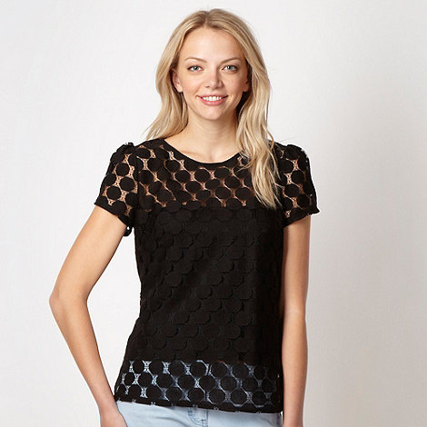 Red Herring - Black spotted lace top