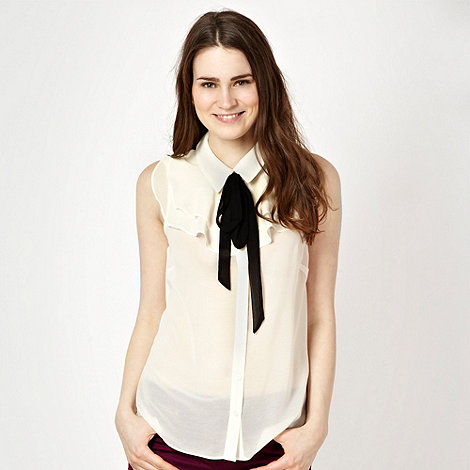 Red Herring - Ivory ruffled sleeveless blouse