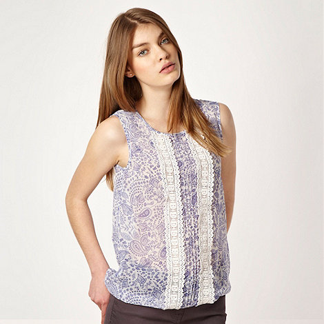 Red Herring - Blue paisley shell top