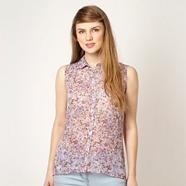 Lilac floral sleeveless blouse