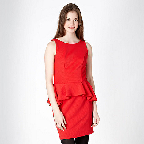 Red Herring - Red textured striped peplum dress