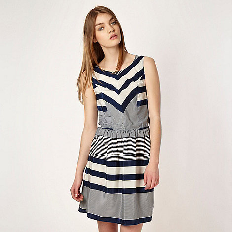 Red Herring - Navy striped crepe dress