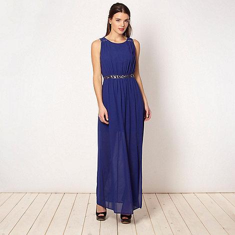 Red Herring - Royal blue embellished waist maxi dress