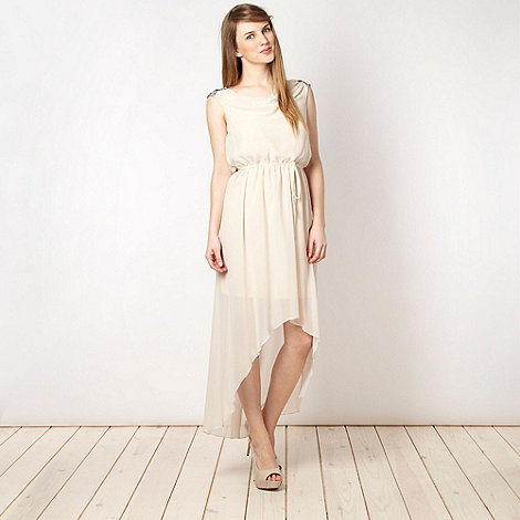 Red Herring - Cream embellished shoulder grecian party dress