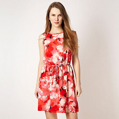 Red Herring - Red graphic rose dress