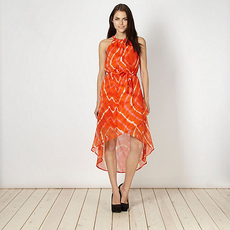 Red Herring - Orange tie dye dipped hem dress