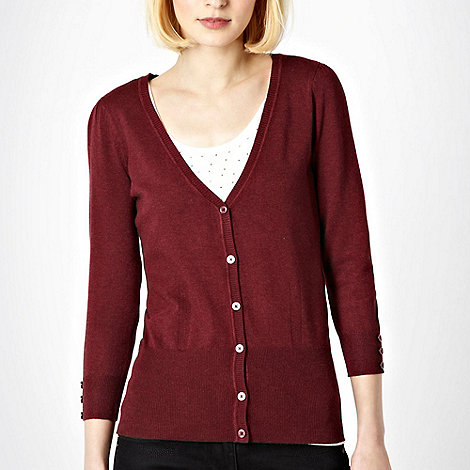 Red Herring - Maroon V neck knitted cardigan