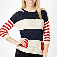 Nude stripe pattern knitted jumper