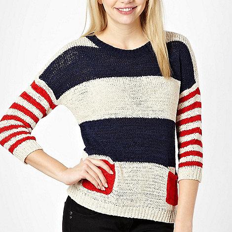 Red Herring - Nude stripe pattern knitted jumper