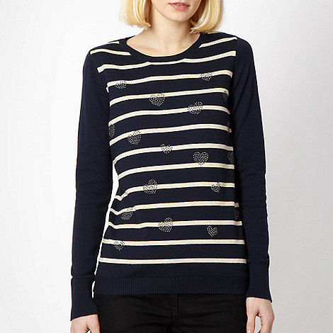 Red Herring - Navy striped studded heart jumper