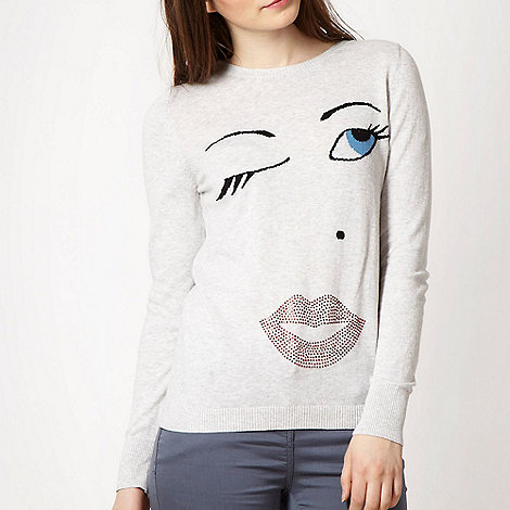Red Herring - Light grey wink face jumper
