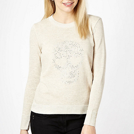 Red Herring - Beige studded skull knitted jumper