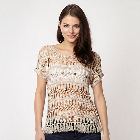 Red Herring - Natural crocheted metallic beaded top