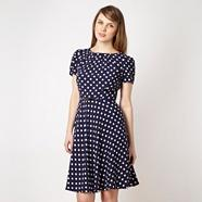 Navy spotted day dress