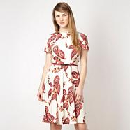 Cream paisley printed day dress