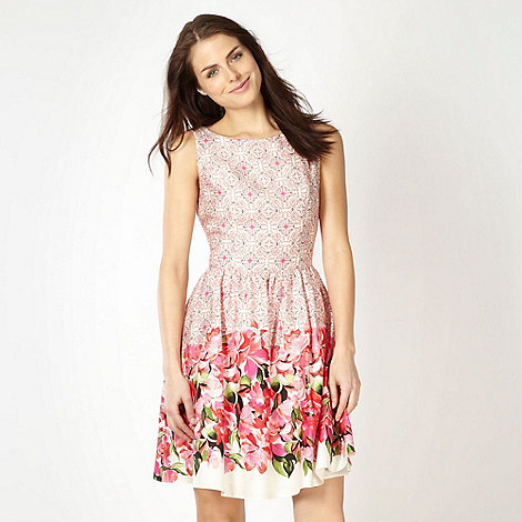 Red Herring - Pink tile patterned prom dress