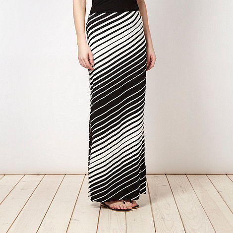 Red Herring - Black diagonal striped jersey maxi skirt