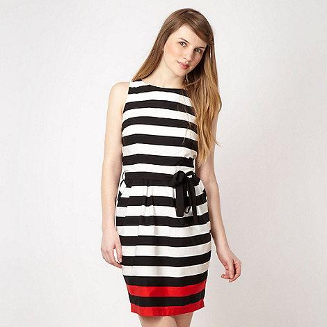 Red Herring - Black colour block striped prom dress