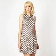 Taupe spotted tulip dress