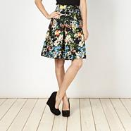 Black floral pleated skirt
