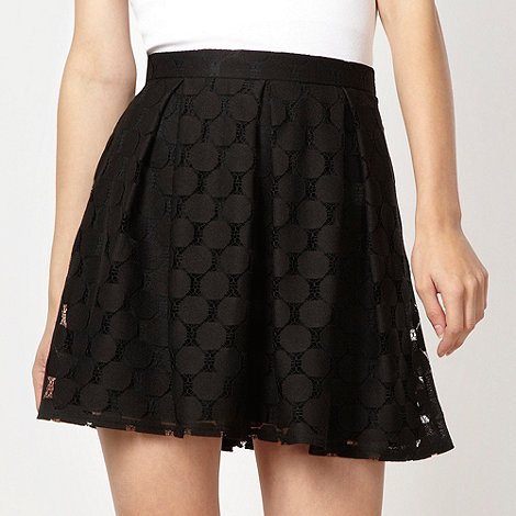 Red Herring - Black geometric lace skirt
