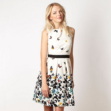 Red Herring - White graphic butterfly border dress