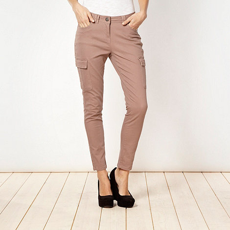 Red Herring - Fawn skinny cropped cargo trousers