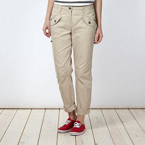 Red Herring - Natural studded cargo trousers
