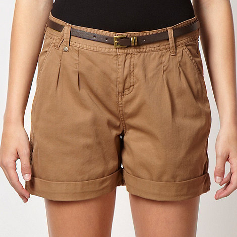 Red Herring - Tan belted twill shorts