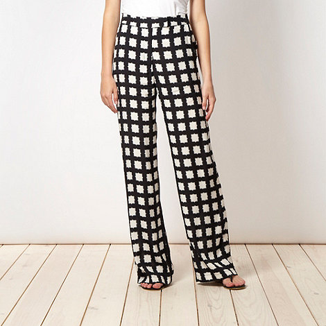 Red Herring - Black checked palazzo trousers