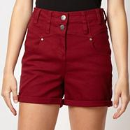 Dark red high waisted denim shorts