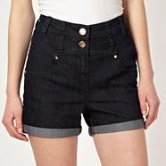 Dark blue high waisted denim shorts