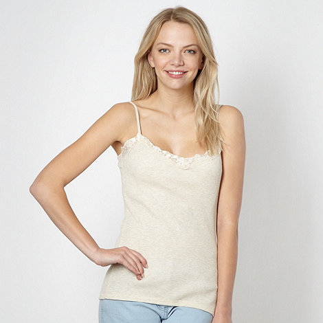 Red Herring - Natural ribbed lace trim camisole