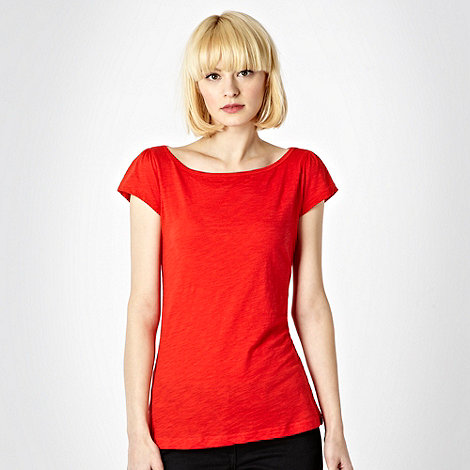 Red Herring - Bright red plain textured t-shirt
