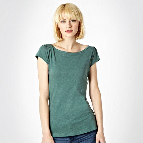 Red Herring - Dark green plain textured t-shirt