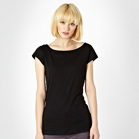Red Herring - Black plain textured t-shirt